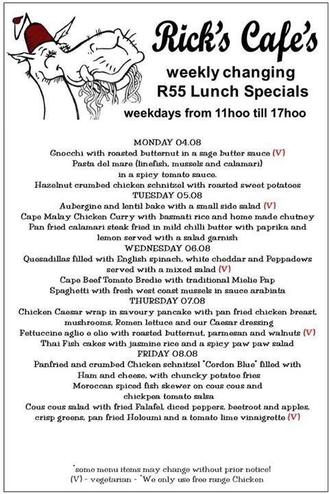 Cape Town Etc | Rick's R55 lunch specials