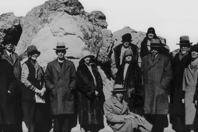 Officials at the cableway's opening on 4 October 1929