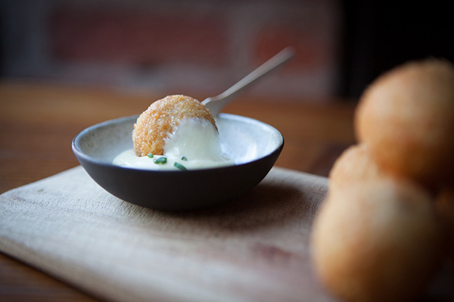 Start with the arancini (risotto balls), served with a delicious, garlicky aioli