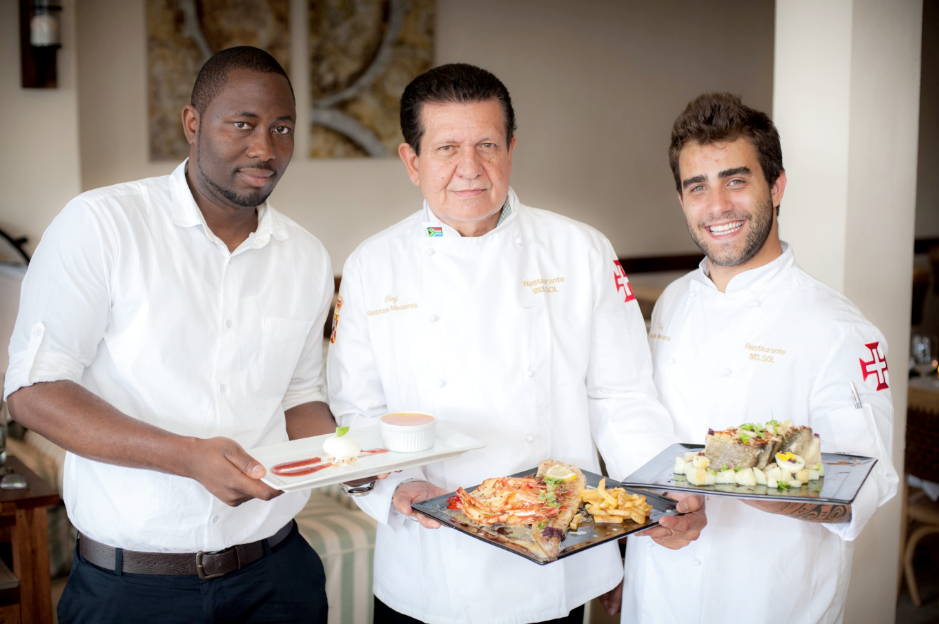 From left to right, Enock Mukandiwa, Manager, Luis da Silva, owner and chef and Gustav Medeiros Alves, chef at Restauranté Belsol.