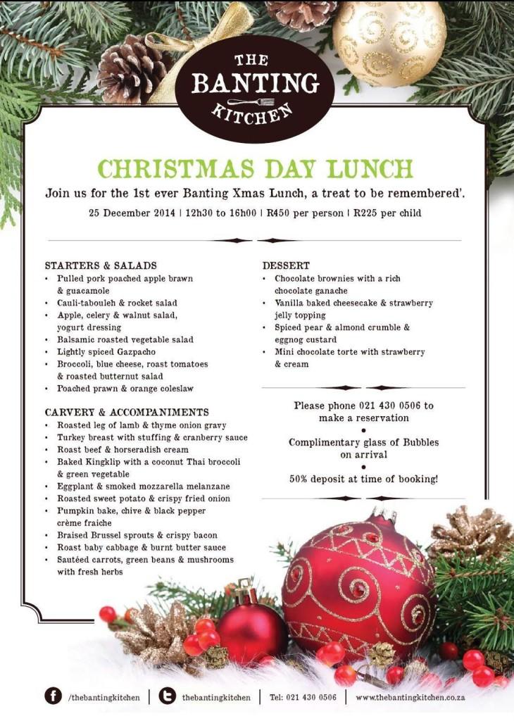 The Banting Kitchen_Christmas Menu 2014