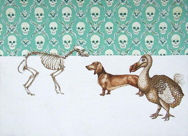 sarah-pratt_dog-days-2_gouache-and-ink-on-bamboo-paper_230-x-320mm