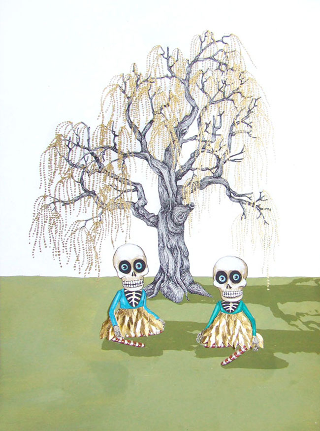 sarah-pratt_picnic-under-the-golden-tree_gouache-ink-goldleaf-and-collage-on-bamboo-paper_320-x-230mm