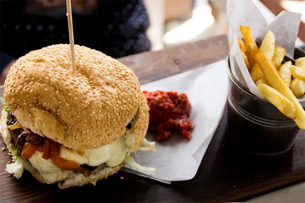 Mozarella and tomato chutney gourmet burger