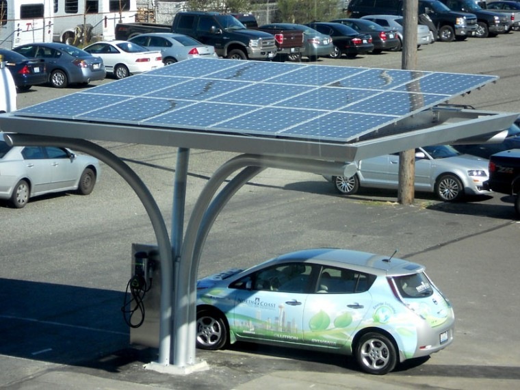 Solar-powered electric car chargers anyone?