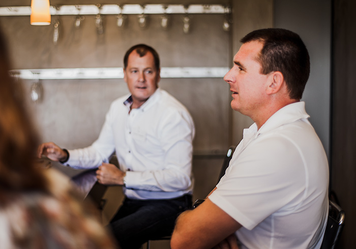 General Manager Johan Erasmus (left) and winemaker Arco Laarman leading the tasting