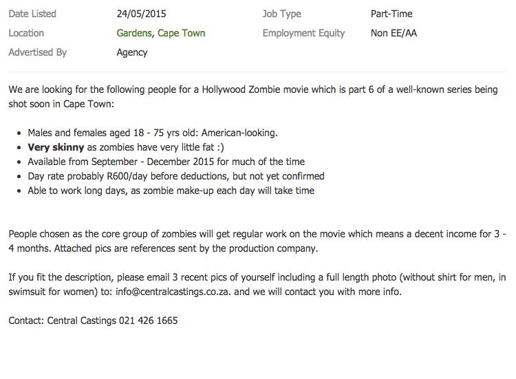 Cape Town zombie film