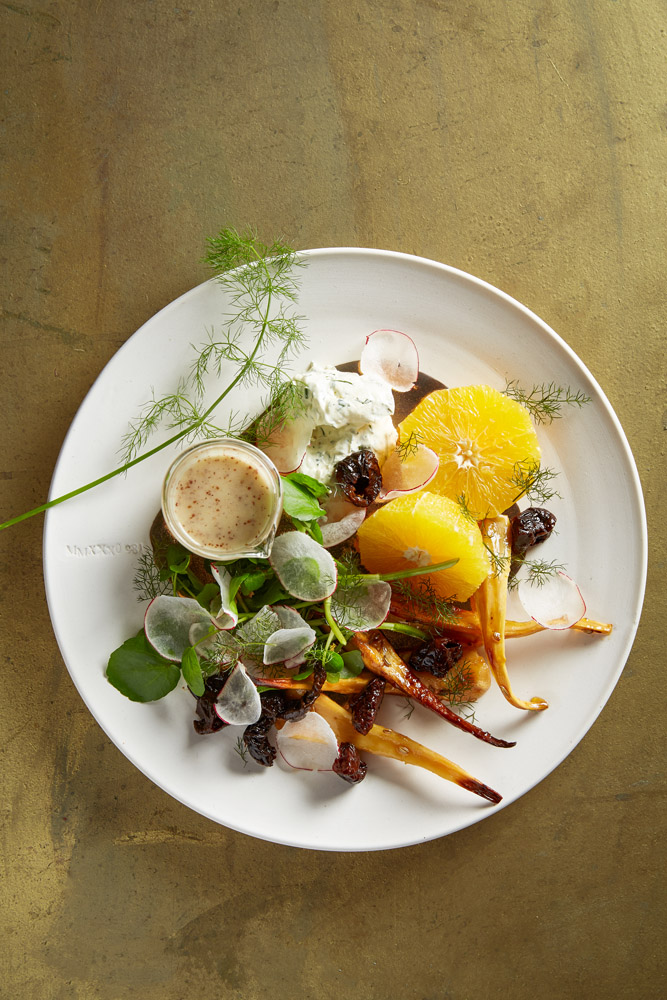 Hemelhuijs Winter Salad - Maple baked parsnips with whipped herb cheese, navel orange, prunes & mustard dressing LR