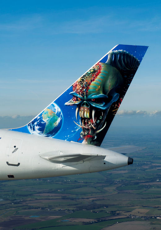 Iron Maiden paint scheme on the Final Frontier World Tour 2011 Boeing 757 leased by Astraeus Airlines