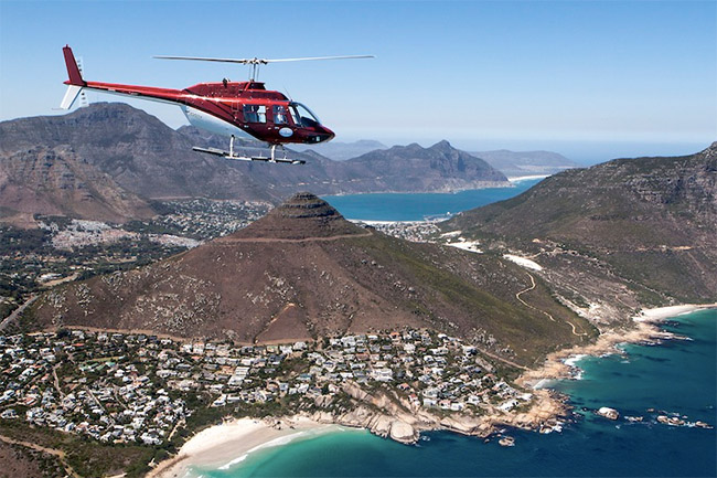 A BIRDS-EYE VIEW OF CAPE TOWN WITH SPORT HELICOPTERS