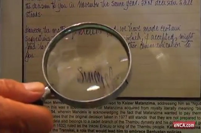 LOST MANDELA LETTERS PUT ON DISPLAY