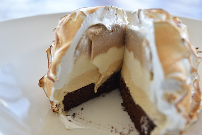 Baked Alaska with layers of hot chocolate and coffee, vanilla pod and salted caramel ice creams – Aaron Polikoff