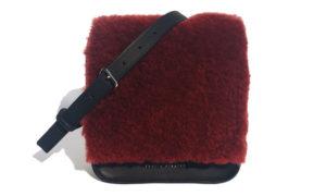 maroon shearling handbag