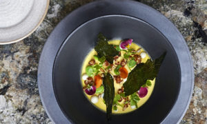 FABER - Cauliflower chawanmushi, broad beans, cauliflower fermented, puree and crispy leaves and herbs