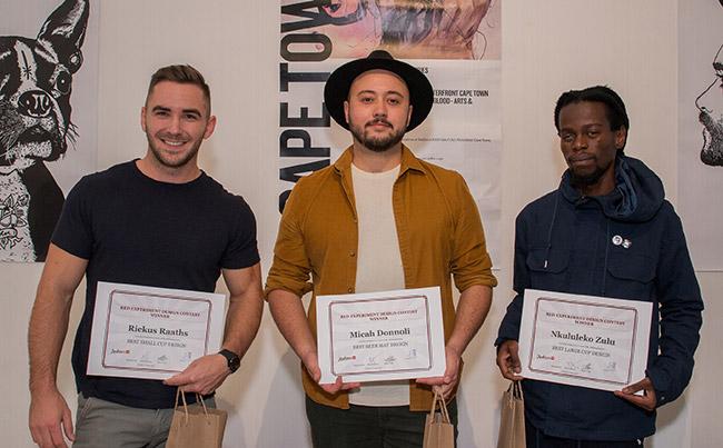Winners of the three categories (from left) Riekus Raaths, Micah Donnoli and Nkululeko Zulu.