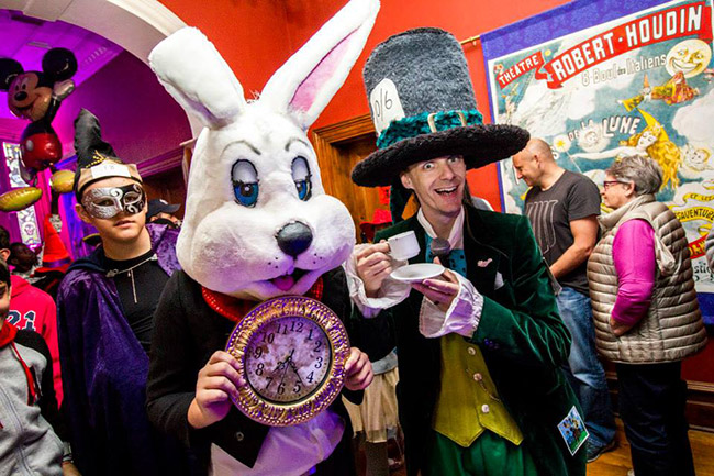 The Mad Hatter and Rabbit at 2015's Traditional Children's Magic Festival.