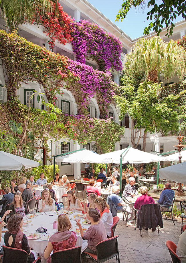 Harvey's courtyard during brunch.