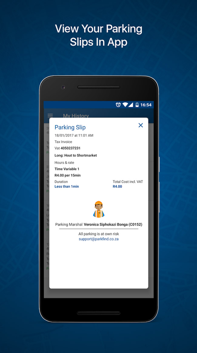 View your parking transactions in the app.