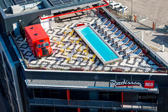 The Radisson RED roof.