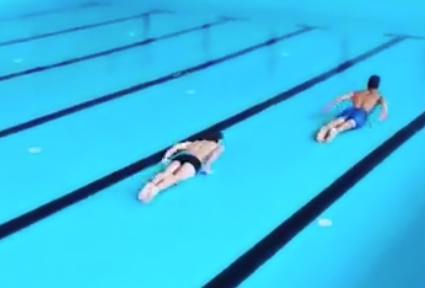 Swimming in empty pool goes viral