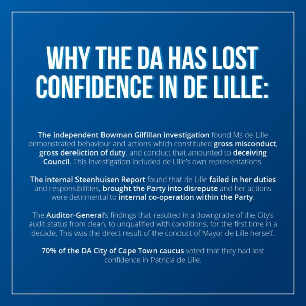 DA offered De Lille Parliament job to reach resolution