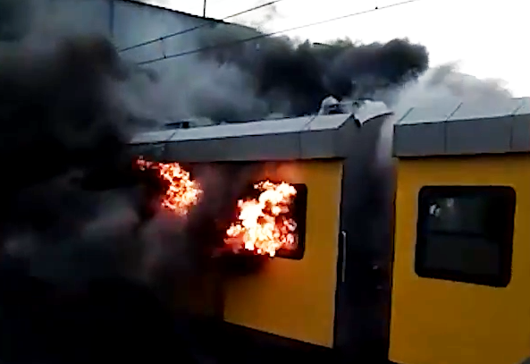 Moving Metrorail train on fire