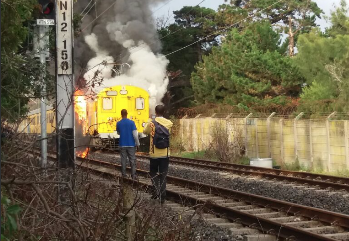 Another Metrorail train set on fire