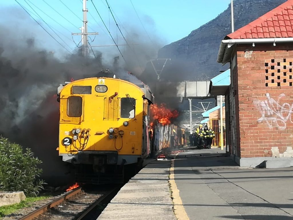 Burning train causes delays for commuters